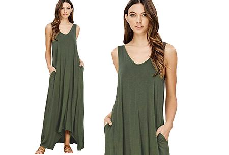 Daily maxi jurk | De ideale basic verkrijgbaar in maar liefst 11 kleuren  Legergroen