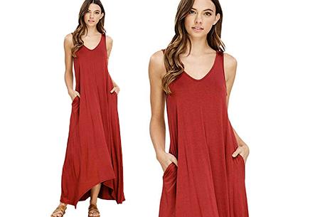 Daily maxi jurk | De ideale basic verkrijgbaar in maar liefst 11 kleuren  Roestrood