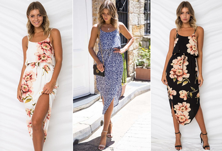 Overlay flower jurk in 15 prints | Prachtige zomerjurk met bloemenprint