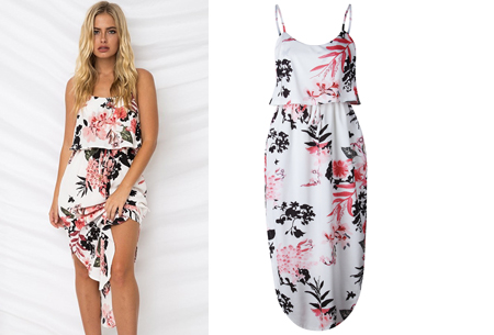Overlay flower jurk in 15 prints | Prachtige zomerjurk met bloemenprint #O