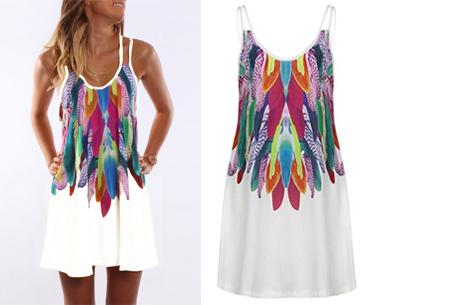 Colorful feather jurk   Kleurrijke & zomerse musthave met verenprint wit