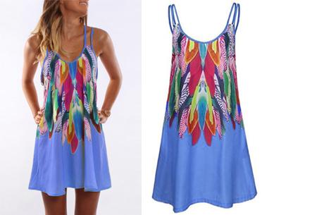 Colorful feather jurk | Kleurrijke & zomerse musthave met verenprint blauw