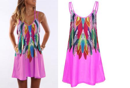 Colorful feather jurk | Kleurrijke & zomerse musthave met verenprint roze