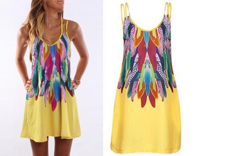 Colorful feather jurk | Kleurrijke & zomerse musthave met verenprint geel