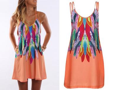 Colorful feather jurk | Kleurrijke & zomerse musthave met verenprint oranje