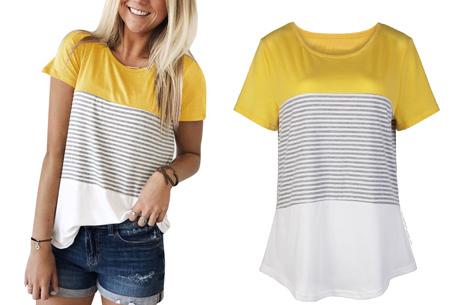 Striped T-shirt  | Verkrijgbaar in 7 kleuren in maat S t/m 2XL  geel