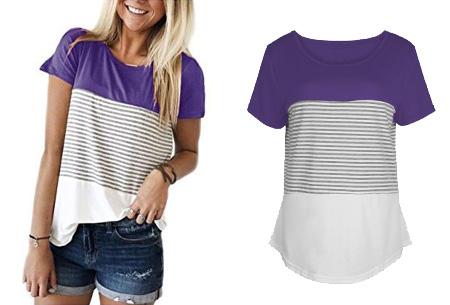 Striped T-shirt  | Verkrijgbaar in 7 kleuren in maat S t/m 2XL  paars
