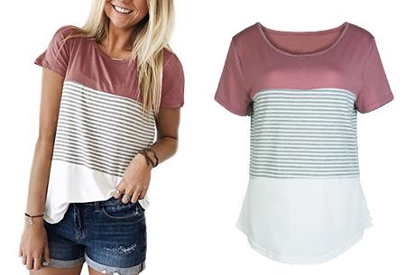 Striped T-shirt  | Verkrijgbaar in 7 kleuren in maat S t/m 2XL  roze