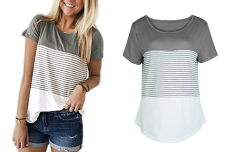 Striped T-shirt Maat XL - Grijs