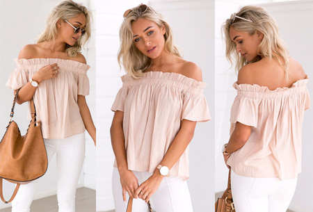 Off shoulder top | Classy, vrouwelijk en casual Lichtroze