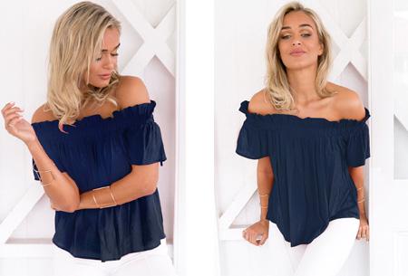 Off shoulder top | Classy, vrouwelijk en casual Navy