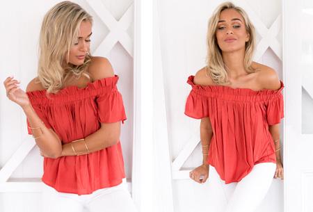 Off shoulder top | Classy, vrouwelijk en casual Rood