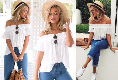 Off shoulder top | Classy, vrouwelijk en casual Wit