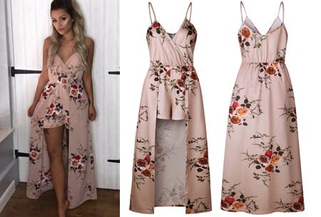 Playsuit dress in 6 kleuren | Stijlvolle, originele combi van een jurk en een playsuit! beige