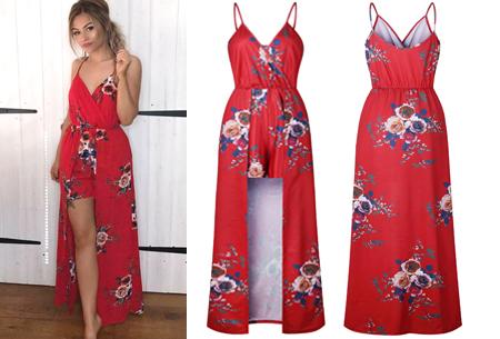 Playsuit dress in 6 kleuren | Stijlvolle, originele combi van een jurk en een playsuit! rood #2