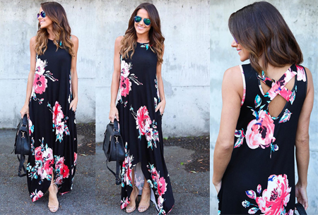 Flower maxi jurk | Lange zwierige jurk met fleurige bloemenprint! zwart