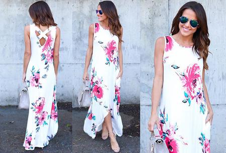 Flower maxi jurk | Lange zwierige jurk met fleurige bloemenprint! wit