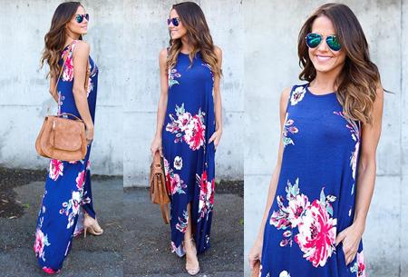 Flower maxi jurk | Lange zwierige jurk met fleurige bloemenprint! blauw