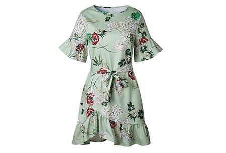Swing dress | Fleurig, vrouwelijk & stijlvol  groen