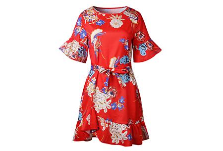 Swing dress | Fleurig, vrouwelijk & stijlvol  rood