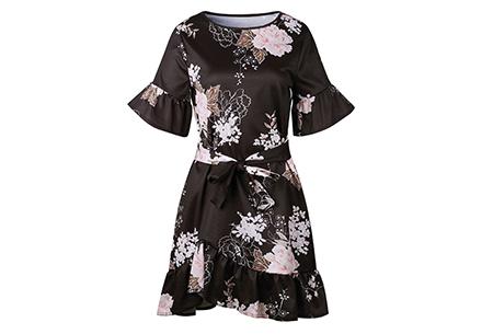 Swing dress | Fleurig, vrouwelijk & stijlvol  zwart #1