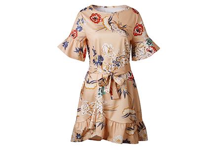 Swing dress | Fleurig, vrouwelijk & stijlvol  abrikoos