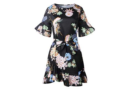 Swing dress | Fleurig, vrouwelijk & stijlvol  zwart #2