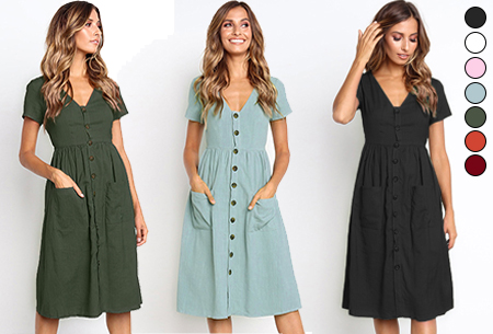 Dagaanbieding: 72% korting – Vintage button jurk