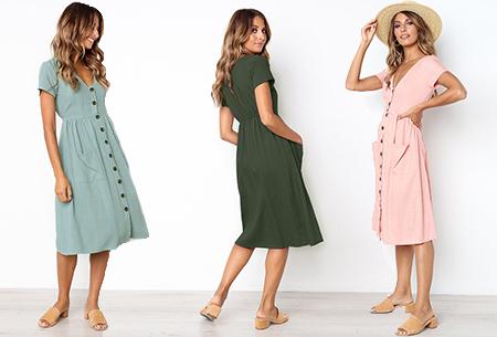Vintage button jurk | Comfortabele dames jurk met vintage touch