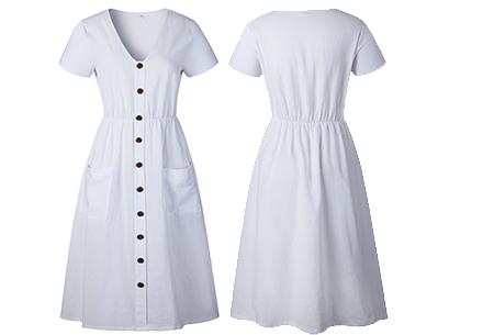 Vintage button jurk | Comfortabele dames jurk met vintage touch Wit