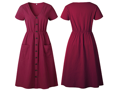 Vintage button jurk | Comfortabele dames jurk met vintage touch Wijnrood