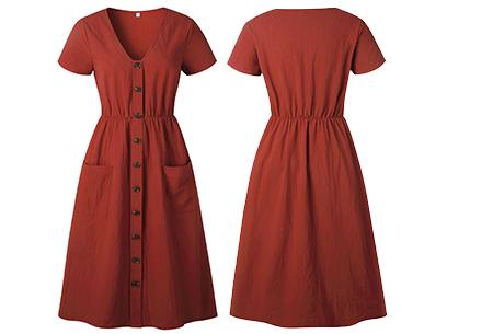 Vintage button jurk | Comfortabele dames jurk met vintage touch Roestrood