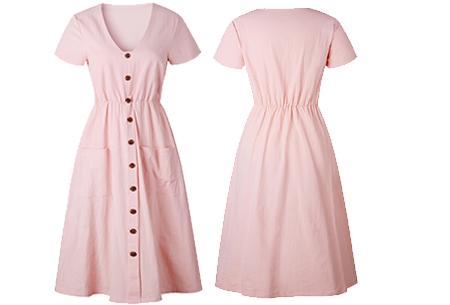 Vintage button jurk | Comfortabele dames jurk met vintage touch Roze