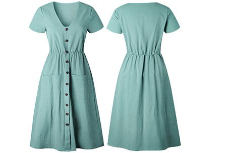 Vintage button jurk | Comfortabele dames jurk met vintage touch Mintgroen
