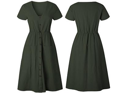 Vintage button jurk | Comfortabele dames jurk met vintage touch Legergroen