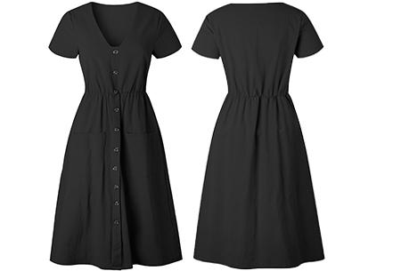 Vintage button jurk | Comfortabele dames jurk met vintage touch Zwart