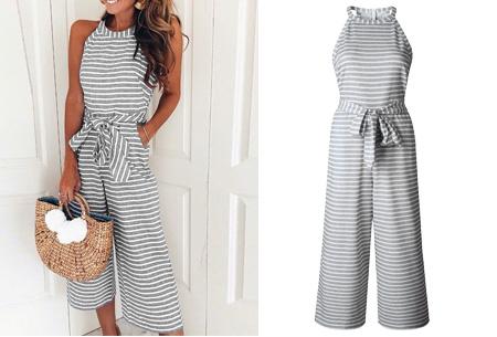 Stripe jumpsuit | Ideale outfit voor de zomermaanden grijs