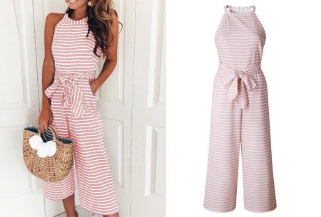 Stripe jumpsuit | Ideale outfit voor de zomermaanden roze