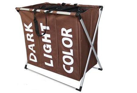 Wasmand organizer met 3 vakken | Al je was direct op kleur gesorteerd! Coffee