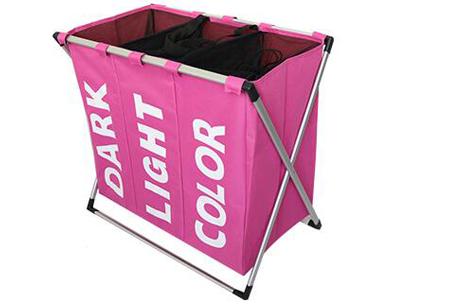 Wasmand organizer met 3 vakken | Al je was direct op kleur gesorteerd! Roze