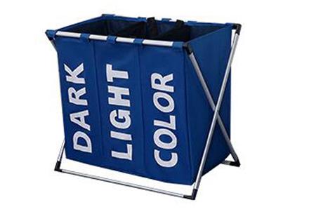 Wasmand organizer met 3 vakken | Al je was direct op kleur gesorteerd! Blauw
