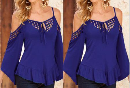 Open shoulder top | Hip & comfortabel dames shirt  blauw