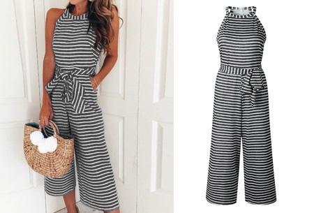 Stripe jumpsuit | Ideale outfit voor de zomermaanden zwart