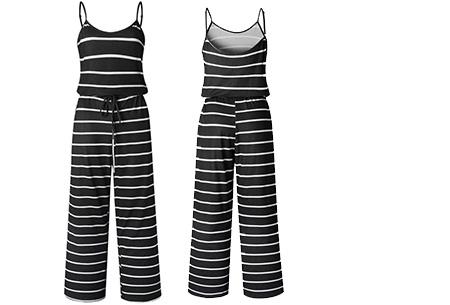 Comfy jumpsuit | Verkrijgbaar in maar liefst 13 verschillende kleuren/prints #4 Stripe Zwart