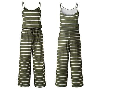 Comfy jumpsuit | Verkrijgbaar in maar liefst 13 verschillende kleuren/prints #5 Stripe Legergroen
