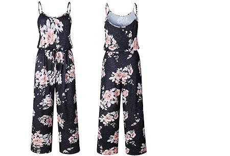 Comfy jumpsuit | Verkrijgbaar in maar liefst 13 verschillende kleuren/prints #8 Flower Zwart Pastel