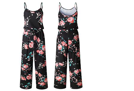 Comfy jumpsuit | Verkrijgbaar in maar liefst 13 verschillende kleuren/prints #9 Flower Zwart Roze