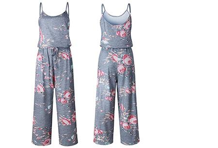 Comfy jumpsuit | Verkrijgbaar in maar liefst 13 verschillende kleuren/prints #10 Flower Grijs