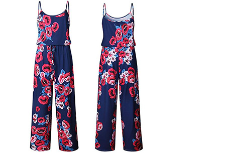 Comfy jumpsuit | Verkrijgbaar in maar liefst 13 verschillende kleuren/prints #11 Flower Navy