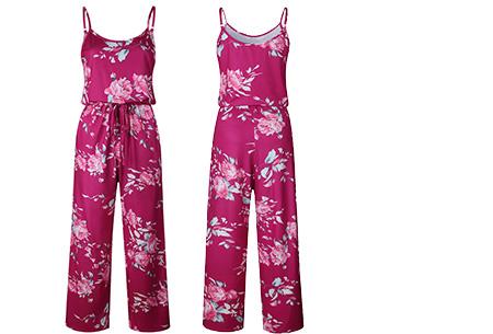 Comfy jumpsuit | Verkrijgbaar in maar liefst 13 verschillende kleuren/prints #13 Flower Wijnrood